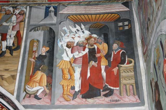 Lanslevillard, chapelle Saint-Sébastien, Jésus devant le grand prêtre Anne