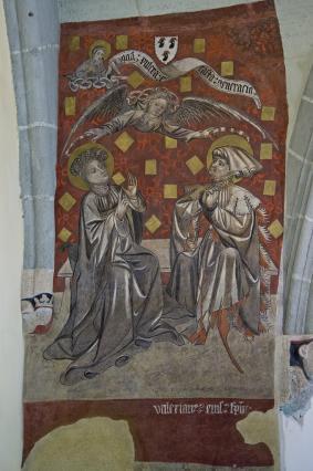 Peintures murales, sainte Cécile et saint Valérien, 15e siècle, chapelle du Saint-Esprit, Hôtel-Dieu du Puy-en-Velay