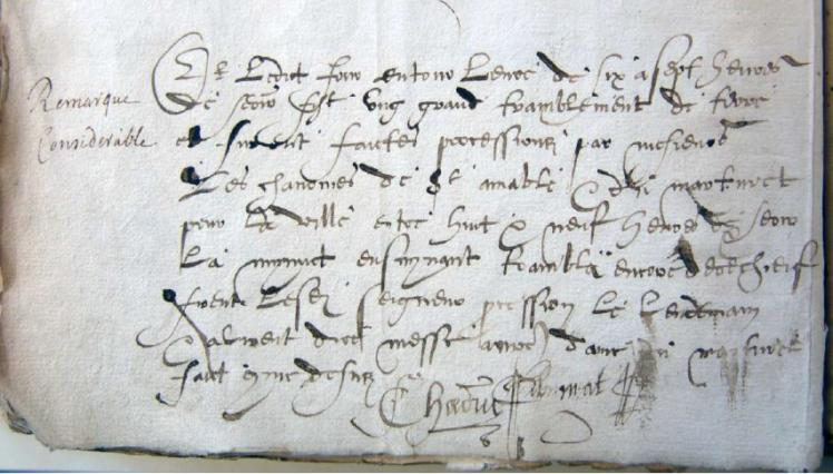 Texte 1570 procession suite à des secousses tellurique
