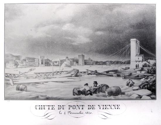 Chute du pont suspendu daté de 1829 le 4 novembre 1840, Musées de Vienne