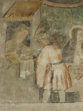 Représentation d'un Vacherin sur une des peintures murales du cloitre d'Abondance