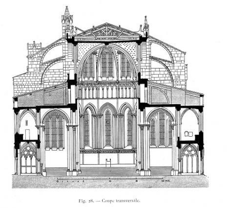 Coupe transversale de l'ancienne cathédrale Saint-Maurice in Lucien Bégule, L'Église de Saint-Maurice, ancienne cathédrale de Vienne en Dauphiné, 1914, Musées de Vienne