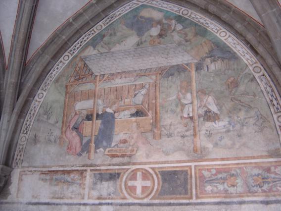 Peinture murale du cloître d'Abondance : la Nativité