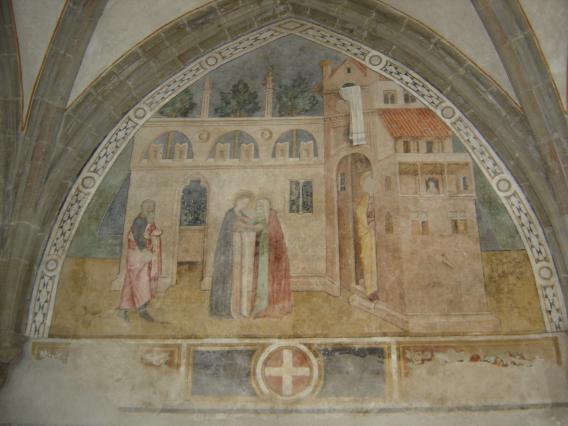 Peinture murale du cloître d'Abondance : la Visitation