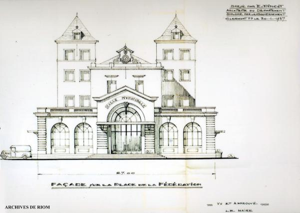 Dessin façade de la halle, E. Pincot 1937, Riom