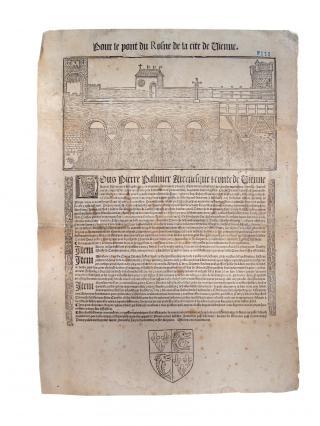 Frontispice pour la réparation du pont du Rhône à l'initiative de Pierre Palmier, archevêque de Vienne, 1555, Musées de Vienne
