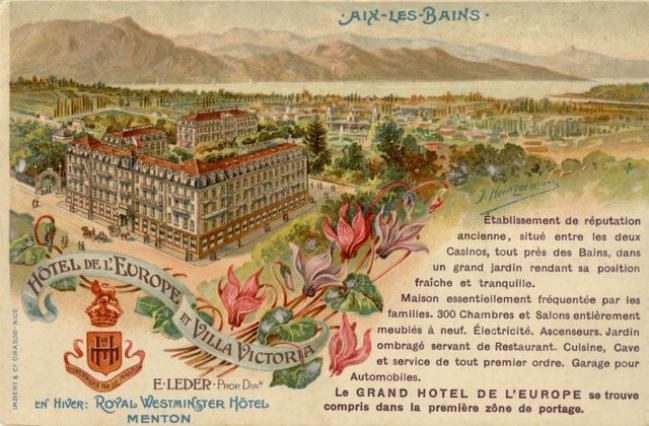 Publicité pour l'Hôtel de l'Europe, Belle-époque