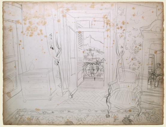 « Intérieur d'une chambre d'hôtel d'Aix-les-Bains », dessin de Raoul Dufy