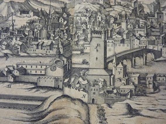 La Tour des Valois et le pont sur le Rhône, détail de La ville archiépiscopale et primatiale de Vienne en Dauphiné, 1648, Musée de Vienne