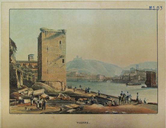 La Tour des Valois et les vestiges du pont médiéval, gravure de Martens d'après Bourgeois Fils, vers 1840, Musées de Vienne