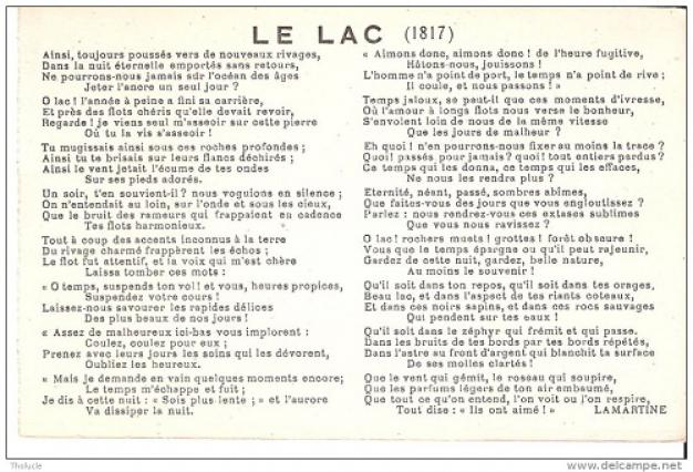 Poème «Le Lac» d'Alphonse de Lamartine, écrit en 1817