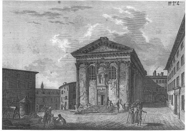 Le temple d'Auguste et de Livie à Vienne transformé en église Notre-Dame-de-la-Vie, fin du 18e siècle, Musées de Vienne