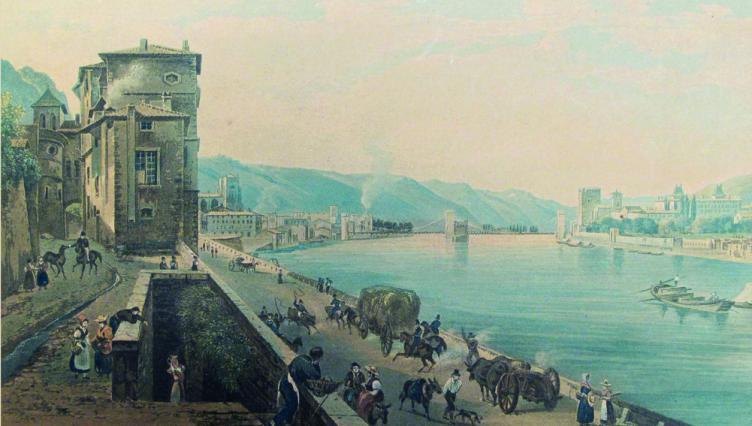 Vue de Vienne, quartier de la Porte de Lyon, gravure de Martens d'après Bourgeois Fils, vers 1840, Musées de Vienne