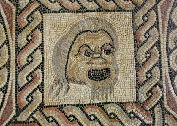 Mosaïque aux masques (détail d'un masque comique), Musée Saint-Pierre, Vienne