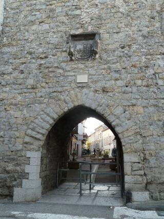 Porte de guerre ou d'honneur ornée du blason