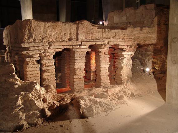Hypocauste (système de chauffe), vestiges des Thermes romains d'Aix-les-Bains, 1er siècle après JC