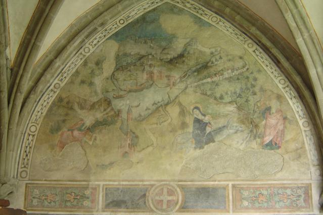 Peinture murale du cloître d'Abondance : la Fuite en Egypte