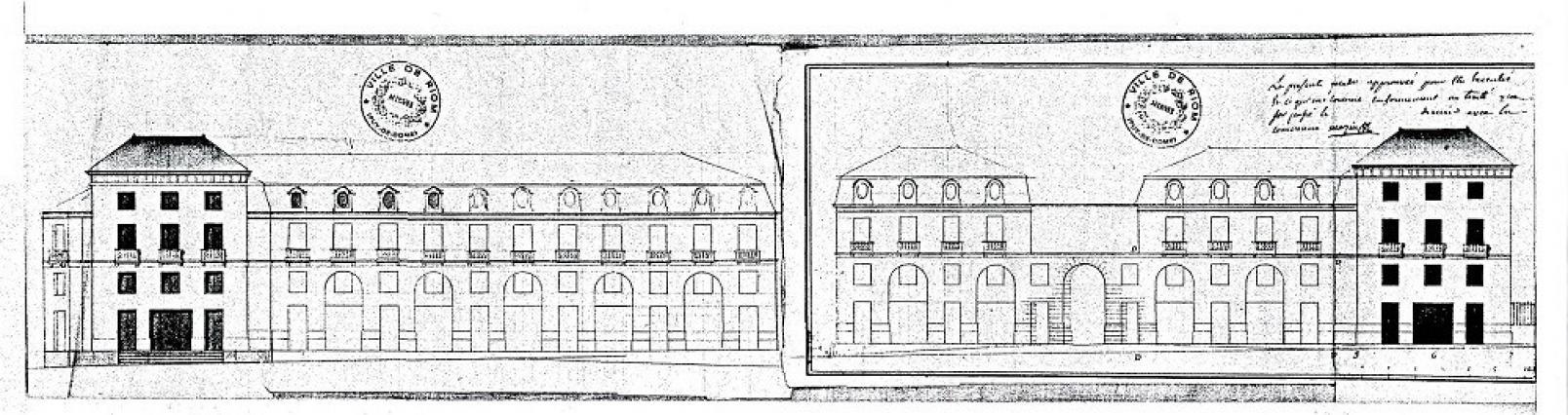 Élévations de la place du Marché-Neuf, 1795, dessin, C.F.M. Attiret, Riom