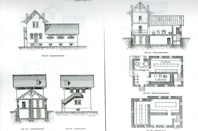 Modèle de plan et évélavtion de fruitière - fin 19e siècle
