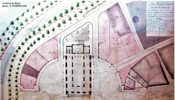 Plan de la place du Marché-Neuf, 1795, C-F-M. Attiret, Riom