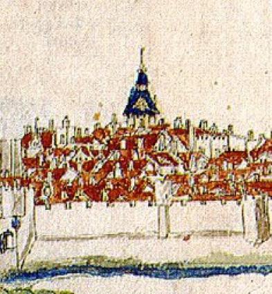 Vue de Guillaume Revel, 1450, détail, tour de l'Horloge.