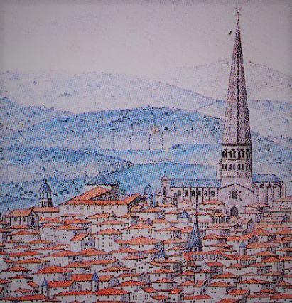 Quartier Saint-Amable avant la place, détail, vue de Legay, Riom vers 1745